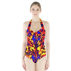 Fire Tree Pop Art Women s Halter One Piece Swimsuit by Costasonlineshop
