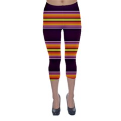 Orange, Green And Purple Fault Line Capri Winter Leggings  by WhiskeyDesigns