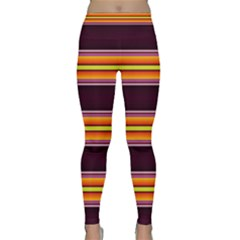 Neon Orange, Green And Purple Striped Fault Line Yoga Leggings  by WhiskeyDesigns