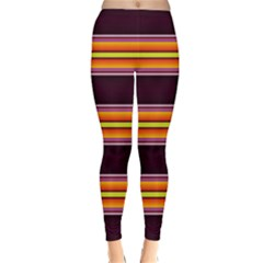 Neon Orange Green Purple Fault Line Winter Leggings  by WhiskeyDesigns