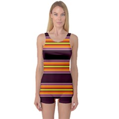 Neon Orange Green And Purple Fault Line One Piece Boyleg Swimsuit by WhiskeyDesigns