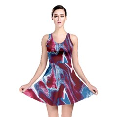 Blue Red White Marble Pattern Reversible Skater Dresses