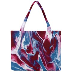 Blue Red White Marble Pattern Tiny Tote Bags by Costasonlineshop