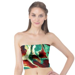 Brown Beige Marble Pattern Women s Tube Tops