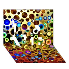 Colourful Circles Pattern Love 3d Greeting Card (7x5)  by Costasonlineshop
