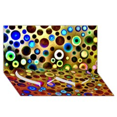Colourful Circles Pattern Twin Heart Bottom 3d Greeting Card (8x4)  by Costasonlineshop