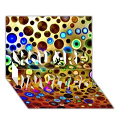 Colourful Circles Pattern You Are Invited 3d Greeting Card (7x5)  by Costasonlineshop