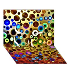 Colourful Circles Pattern Clover 3d Greeting Card (7x5)  by Costasonlineshop