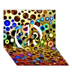 Colourful Circles Pattern Peace Sign 3d Greeting Card (7x5)  by Costasonlineshop