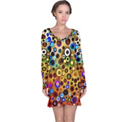 Colourful Circles Pattern Long Sleeve Nightdresses by Costasonlineshop