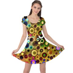 Colourful Circles Pattern Cap Sleeve Dresses by Costasonlineshop
