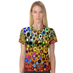 Colourful Circles Pattern Women s V Neck Sport Mesh Tee