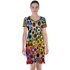 Colourful Circles Pattern Short Sleeve Nightdresses by Costasonlineshop