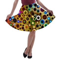Colourful Circles Pattern A Line Skater Skirt by Costasonlineshop