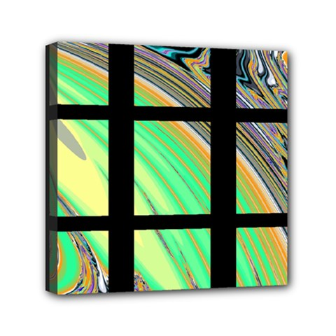 Black Window With Colorful Tiles Mini Canvas 6  X 6  by digitaldivadesigns