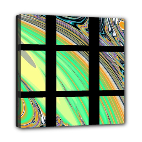 Black Window With Colorful Tiles Mini Canvas 8  X 8