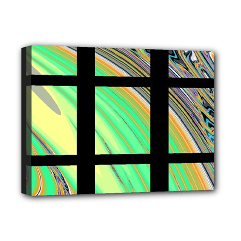 Black Window With Colorful Tiles Deluxe Canvas 16  X 12   by digitaldivadesigns