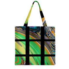 Black Window With Colorful Tiles Zipper Grocery Tote Bags by digitaldivadesigns