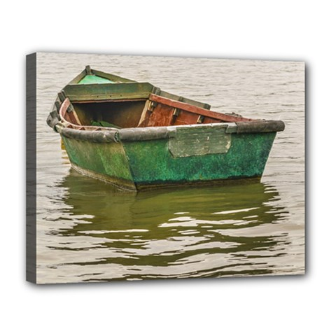 Old Fishing Boat At Santa Lucia River In Montevideo Canvas 14  X 11  by dflcprints