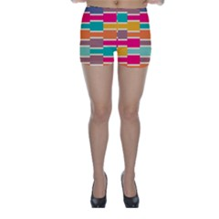 Connected Colorful Rectangles Skinny Shorts by LalyLauraFLM