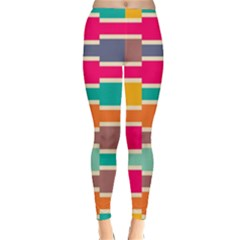 Connected Colorful Rectangles Winter Leggings by LalyLauraFLM