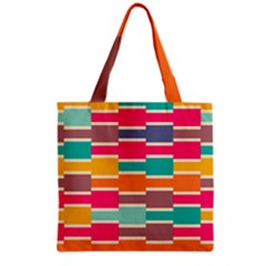 Connected Colorful Rectangles Grocery Tote Bag by LalyLauraFLM