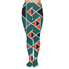 Triangles In Retro Colors Pattern Tights by LalyLauraFLM