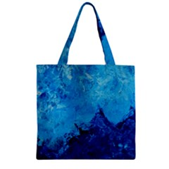 Waves Zipper Grocery Tote Bags by timelessartoncanvas