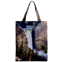 Yellowstone Waterfall Zipper Classic Tote Bags by trendistuff