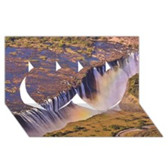 Waterfall Africa Zambia Twin Hearts 3d Greeting Card (8x4)  by trendistuff