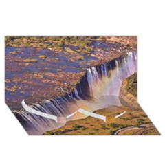 Waterfall Africa Zambia Twin Heart Bottom 3d Greeting Card (8x4)  by trendistuff