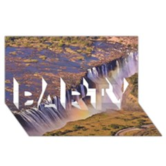 Waterfall Africa Zambia Party 3d Greeting Card (8x4)  by trendistuff