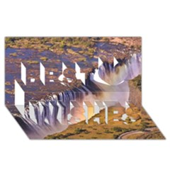 Waterfall Africa Zambia Best Wish 3d Greeting Card (8x4)  by trendistuff