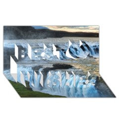 Gullfoss Waterfalls 2 Best Wish 3d Greeting Card (8x4)