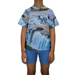 Gullfoss Waterfalls 2 Kid s Short Sleeve Swimwear