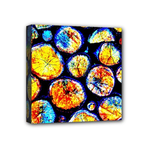 Woodpile Abstract Mini Canvas 4  X 4  by Costasonlineshop
