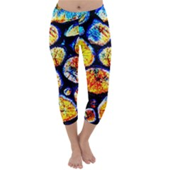 Woodpile Abstract Capri Winter Leggings