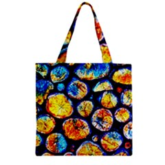 Woodpile Abstract Zipper Grocery Tote Bags by Costasonlineshop