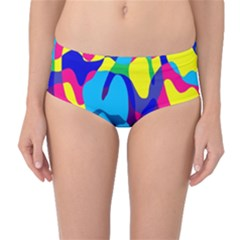 Colorful Chaos Mid Waist Bikini Bottoms by LalyLauraFLM