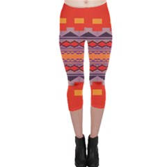 Rhombus Rectangles And Triangles Capri Leggings by LalyLauraFLM