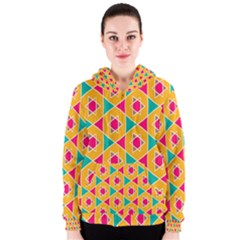 Colorful Stars Pattern Women s Zipper Hoodie by LalyLauraFLM