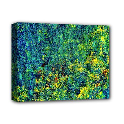 Flowers Abstract Yellow Green Deluxe Canvas 14  X 11  by Costasonlineshop