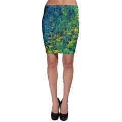Flowers Abstract Yellow Green Bodycon Skirts