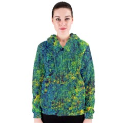 Flowers Abstract Yellow Green Women s Zipper Hoodies by Costasonlineshop