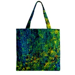 Flowers Abstract Yellow Green Zipper Grocery Tote Bags by Costasonlineshop