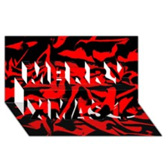 Red Black Retro Pattern Merry Xmas 3d Greeting Card (8x4)  by Costasonlineshop