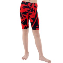 Red Black Retro Pattern Kid s Mid Length Swim Shorts by Costasonlineshop