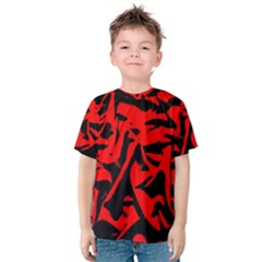 Red Black Retro Pattern Kid s Cotton Tee by Costasonlineshop