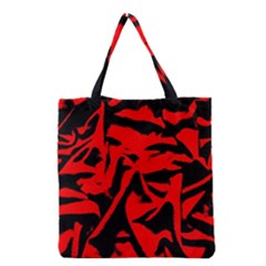 Red Black Retro Pattern Grocery Tote Bags by Costasonlineshop