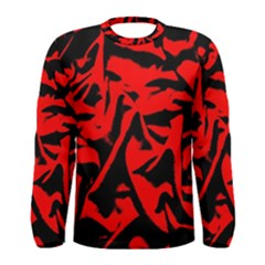 Red Black Retro Pattern Men s Long Sleeve T Shirts by Costasonlineshop